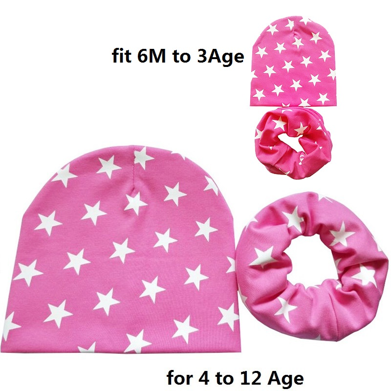 0 to 12Age Kids Hat Baby Hat Child Hats Scarf Set 2Pcs Beautiful Stars Children Cap Scarf Collars Autumn Winter Baby Cap in Hats Caps from Mother Kids
