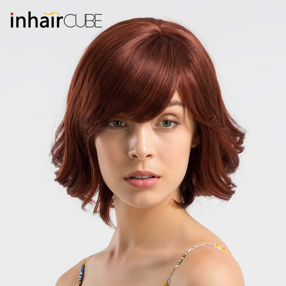 DAOTS Medium Length Wig with Bangs Synthetic Curly Wigs