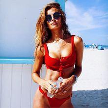Sexy Bikini 2019 Womens Brazilian Tops Swimsuits Low waist Swimwear Solid Color biquini
