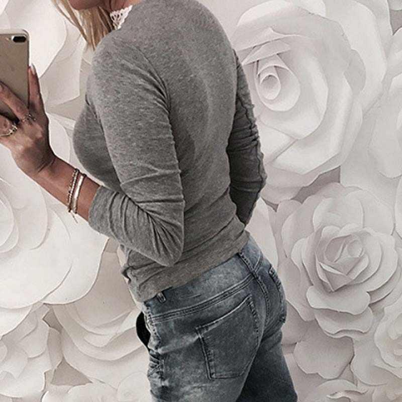 Топ Мода 2019 ZANZEA Лето Для женщин Повседневное одноцветное с круглым вырезом с длинным рукавом Кружева Croceht лоскутное тонкий эластичный блузка для вечеринок рубашки