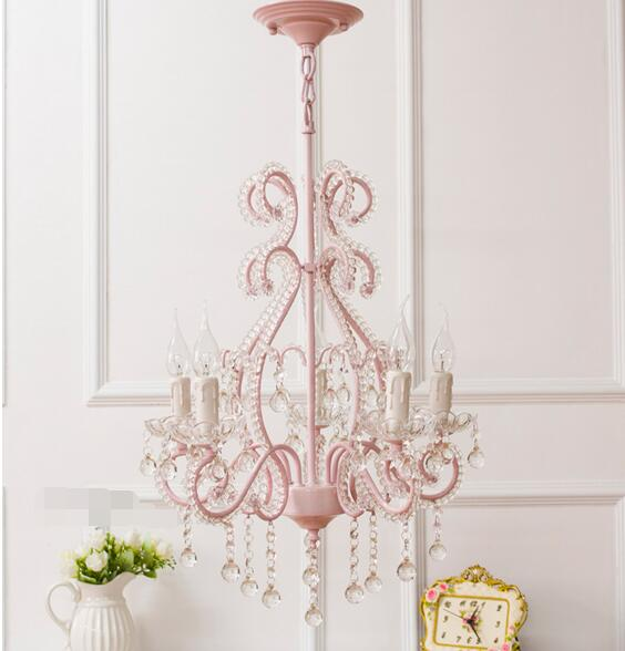 pink chandelier crystals