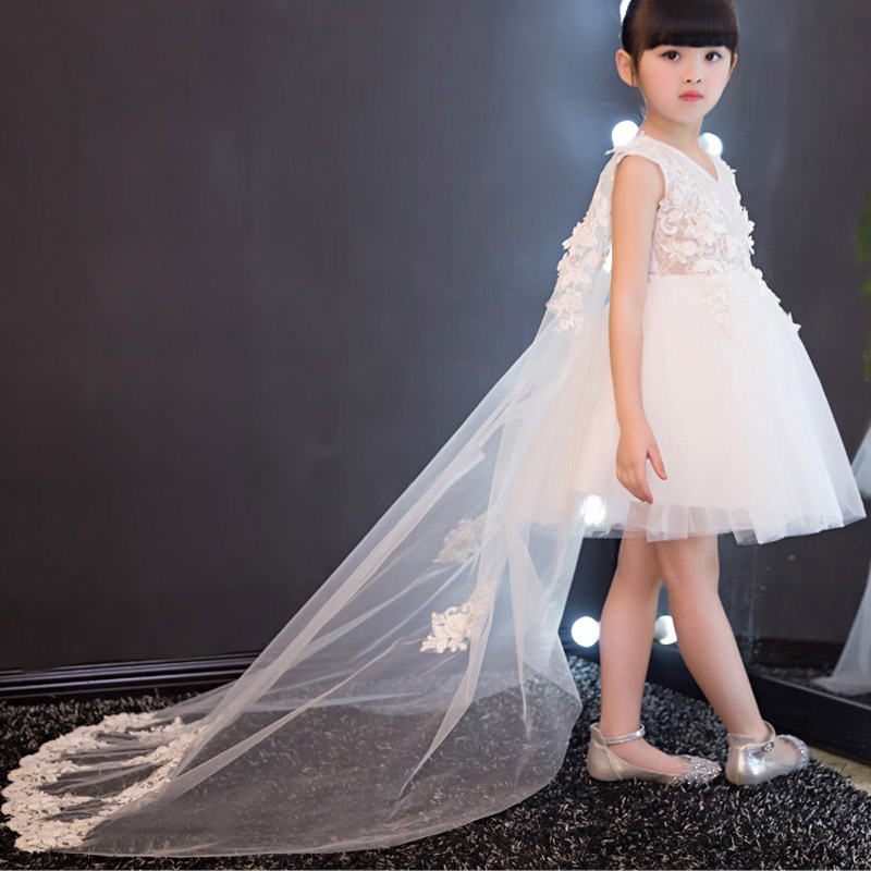 Children Kids Model Show Dresses Girls Trailing Lace Princess Dress Birthday Evening Party Ball Gown Christmas Girl Dress E146 girls princess sofia evening dress girl ball gown party dresses children costumes princess elsa dress kids cinderella clothes