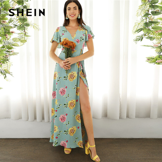 c966fcbdcb SHEIN Boho Green Surplice Neck High Split Floral and Dot Maxi Summer Dress  Women Butterfly Sleeve Belted Empire Elegant Dresses