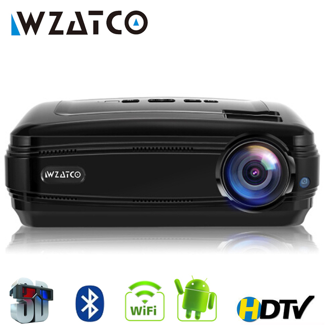 Best Offers WZATCO CTL60 Upgrade Android 7.1 WIFI 5500Lumen Portable fullHD Home Cinema TV LED Projector 1080P 4K Video Game HDMI LCD Beamer