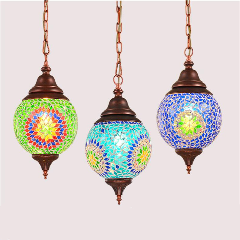 Bohemian Exotic Turkey India Style Blue Green Handmade Glass Led E27 Pendant Light For Restaurant