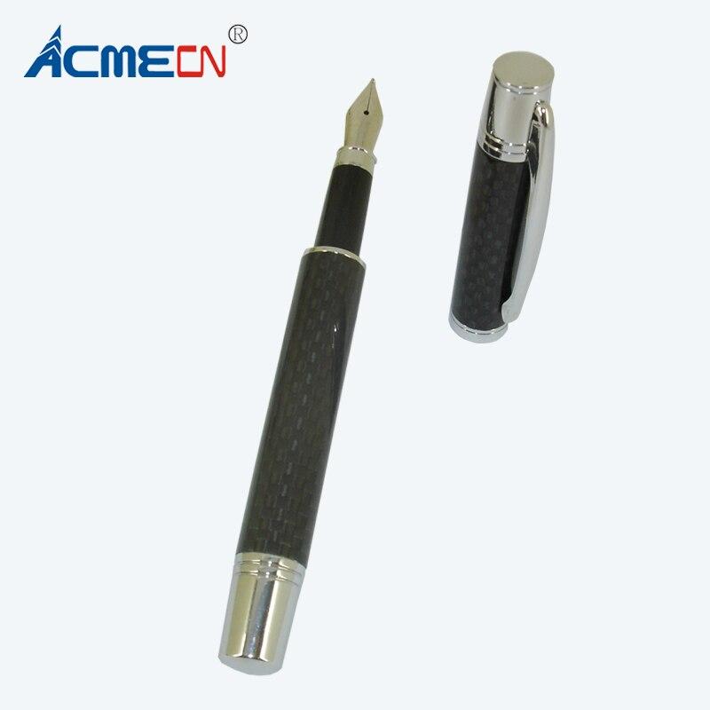 ACMECN Luxious полный углеродного волокна авторучки серебристой отделкой жидкие чернила ручки с насосом картридж офиса и школы каллиграфии пера