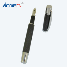 ACMECN Luxious Full Carbon Fiber Fountain Pen Silver Trim Liquid ink Pens with Pump Cartridge Office & School Calligraphy
