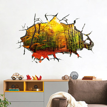 Hot 3D Hole Wall Sticker Forest Landscape Tree Four Seasons Removable Diy Art Wallpaper Background Home Room Decal Decoration