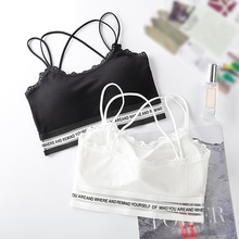 Women Summer Spandex Comfy Full Cup Bra Sexy Lace Elastic Rib Letter Print Bras Lady BH Bralette Underwear 2019 New Arrivals
