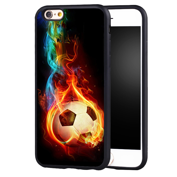whimsical colorful Fire Football Soccer Ball Full Protective case Cover For iPhone X 8 7 7Plus 6 6S Plus 5 5S 5C SE