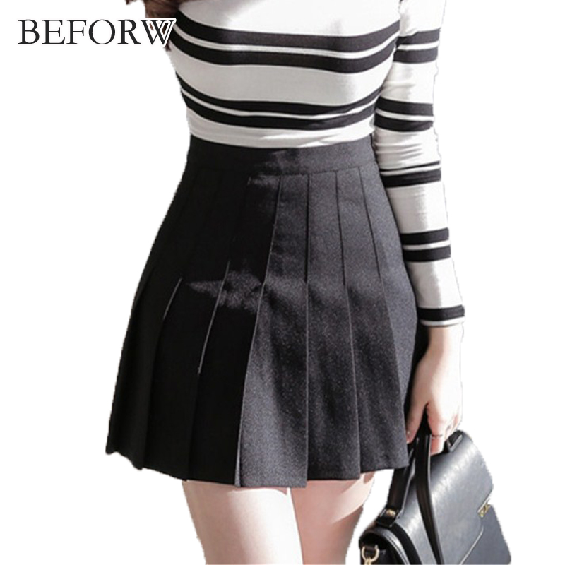 BEFORW European And American Spring And Autumn Skirt Pleated Skirt Womens A Line Casual Stretch High Waist Slim Sexy Kilt Skirt
