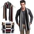 Зима дизайнер шарф мужчины полосатый хлопок шарф женский и мужской бренд шаль wrap вязать кашемир bufandas Полосатый шарф с кистями