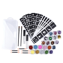 22x Colors Powder Temporary Fashionable Multi-Color Glitter Shimmer Tattoo Kit for Body Art Design Paint, Glue and Brushes