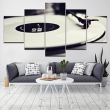5 Panel EZON-CH Modern Art Funny Music Record Turntable Pictures Printed On Canvas Wall Wallpapers modern Poster Modular Decor
