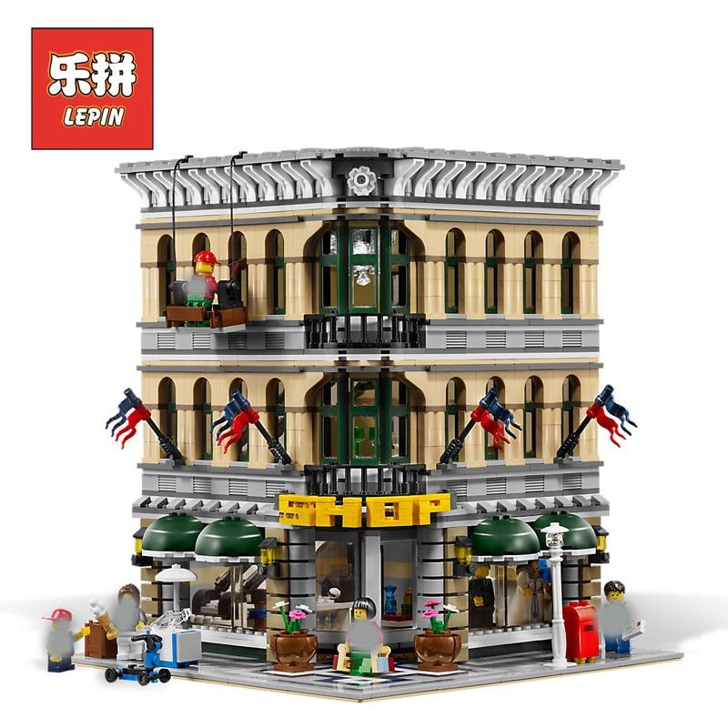 New Lepin 15005 2232pcs City Grand Emporium Model Building Blocks Funny Educational Brick Toys Compatible Legoing 10211 Children цена