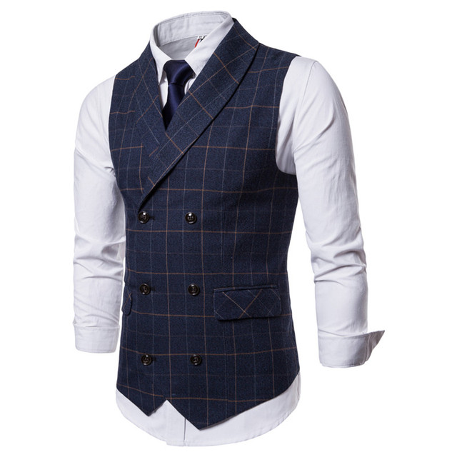 FFXZSJ Men Suit Vest 2018 Double Breasted Waistcoat Slim Fit Gilet Men Business Wedding Colete Masculino Social Blazer Plus Size