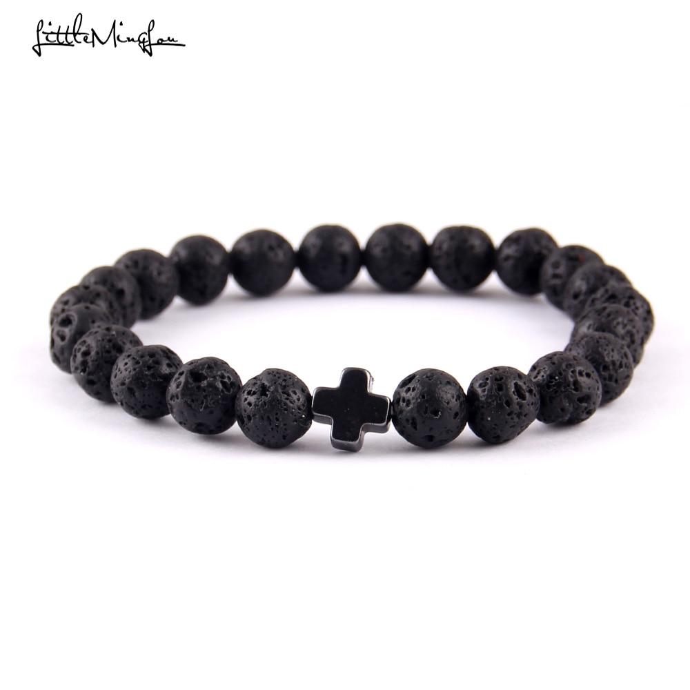 Batu alam Trendy Dewa Yesus Palang Charm pria gelang Lava Batu Beads handmade Pasangan Gelang & Gelang untuk wanita Perhiasan