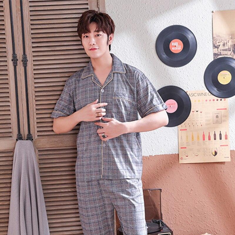 Man Summer New Short Sleeve Plaid Night Shirt Men Home Pants Sleep Tops Two Piece Set Male Pajamas Set Gay Sleepwear Young XXXL