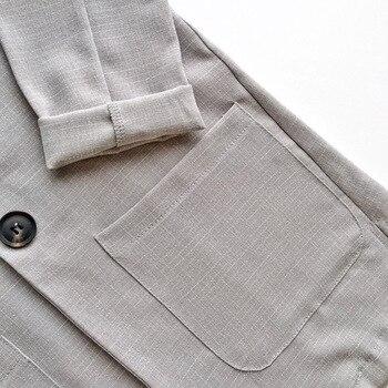 Cotton Linen Summer Suit Female 2 Pieces Set Tracksuit for Women Loose Blazer & Bow Elastic Waist Short Pant Suits High Quality 5