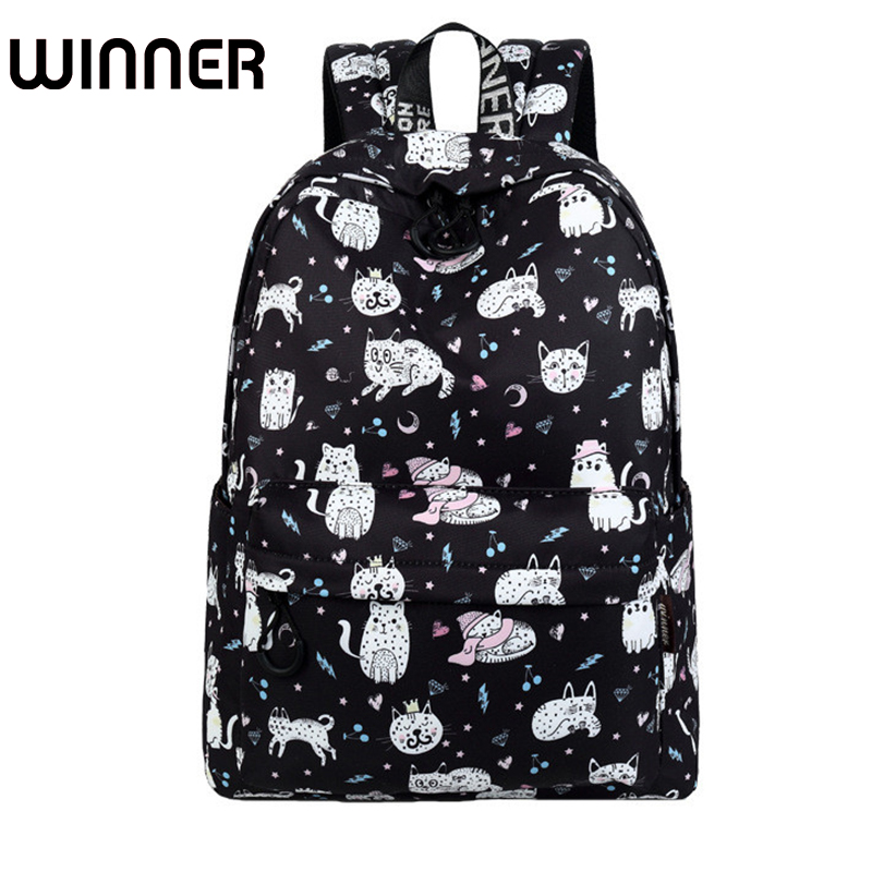 High Quality Waterproof Polyester Women Backpack Cute Cat Animal Pattern Printing Girls Daily Travel Knapsack high quality cartoon cat street lamp pattern removeable wall sticker