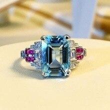 Stone Sea  Ring Red Corundum Metal Jewelry for Women Anillos De Bizuteria Diamante Rings D30