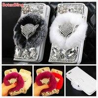 BotexBling DIY Vos Diamant pluizige pluche Konijnenbont Cover voor samsung galaxy S6 rand plus s7 s5 s4 N5 N4 N8 s8 Flip Portemonnee Case