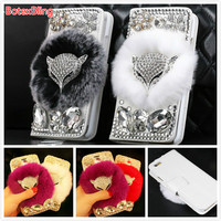 DIY Fox Bling Diamond Fluffy Plush Rabbit Fur Cover For Samsung Galaxy S6 Edge Plus S7
