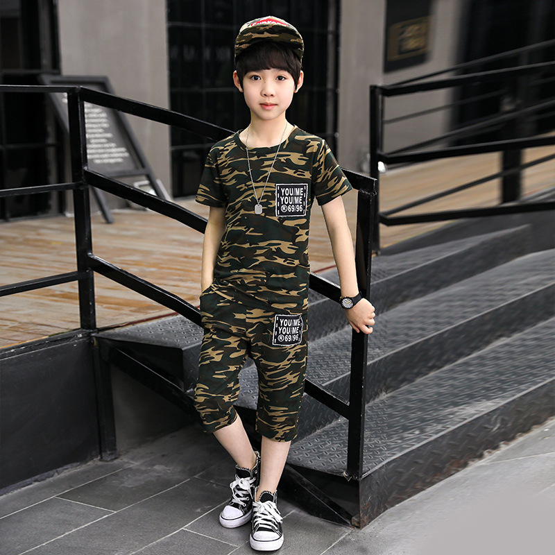 Baby Boy Clothes Set Summer Camouflage Short Sleeve Print Shirt + Shorts 4 5 6 8 9 10 11 12 13 Years Children Clothing Teens