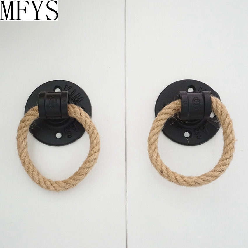Unique Black Cupboard Drop Ring Retro Drawer Knobs Hemp Rope Wardrobe Dresser Drop Pull Cabinet Knobs Handle in Cabinet Pulls from Home Improvement
