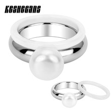 Split 2pcs/Set White Ceramic Ring Big Simulated Pearl Ring Stainless Steel Silver Color For Women Fashion Jewelry Wedding Party(China)