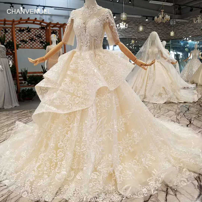 771df8b0d38fe LSS101 champagne wedding gowns high neck half sleeves open keyhole back  puffy flowers wedding dress with