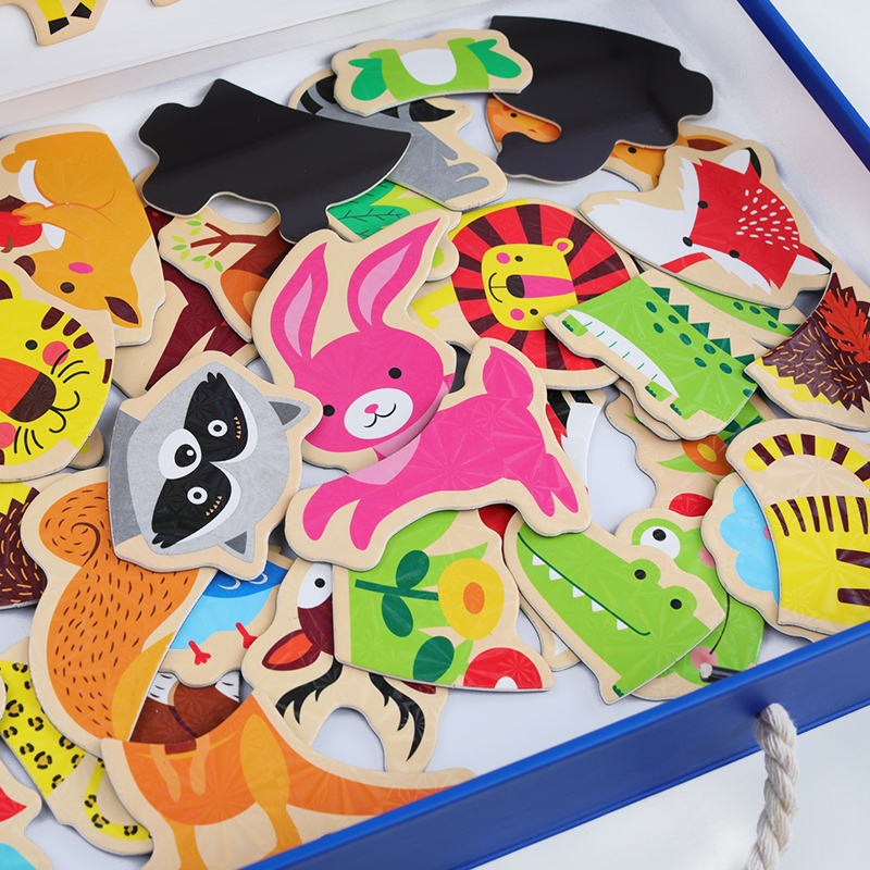100 PCS Wooden Magnetic Puzzle Figure Animals Vehicle Circus Drawing Board 5 styles Box Educational Toy Gift in Puzzles from Toys Hobbies