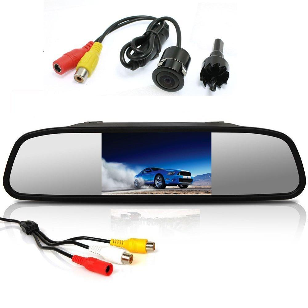 4.3 inch Car Rear Monitor Support 2 Video and Audio Input + Waterproof Rear-view LCD Monitor Car camera Backup Rear View Camera