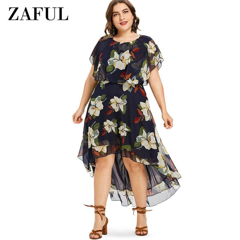 ZAFUL плюс Размеры 5XL Цветочный принт асимметричное платье Для женщин летние шорты рукавами и круглым вырезом платья Vestido 2018 женское платье в с...