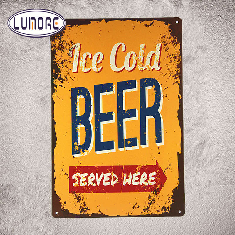 Metal Poster ICE COLD BEER served Here Tin Sign Metal Wall Decor Bar Pub Beer Sign Tavern D82