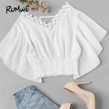 ROMWE White Contrast Lace Trim V Neck Women Crop Blouses 2019 Summer Short Ruffle Sleeve Pleated Hem Solid Top Blouse