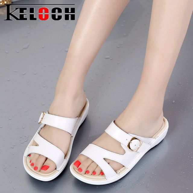 34ac8f27e Keloch 2018 Summer Slippers Women Home Slippers Comfortable Slides Women  Flats Shoes Summer Sandals White Casual Shoes Female