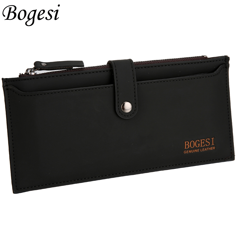 with zipper new 2018 men wallets famous brand long thin wallet male money purses with Flip up ID Window long korean walet