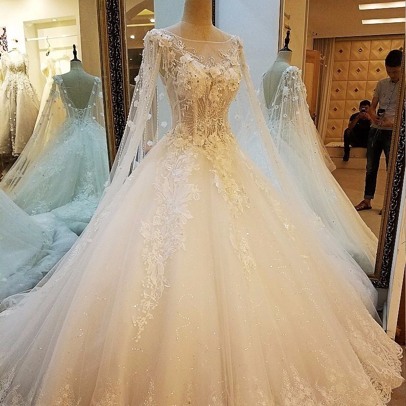 Backlake Lvory Lace Princess Wedding Dresses Pearls