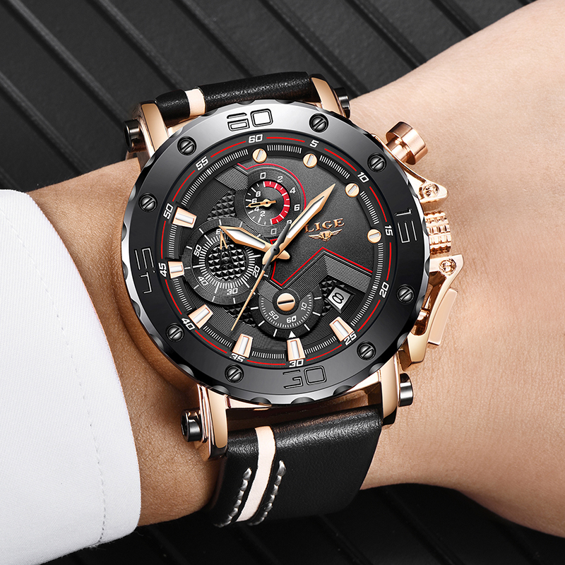 Relogio Masculino 2019 New LIGE Sport Chronograph Mens Watches Top Brand Casual Leather Waterproof Date Quartz Relogio Masculino New LIGE Sport Chronograph Mens Watches Top Brand Casual Leather Waterproof Date Quartz Watch Man Clock