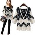 Мода Дышащий Большой Размер женщин в 2017 Новый Черный Белый Сращивание С Длинными рукавами Кружева Рубашки Крючком Hollow Свободные V-образным Вырезом блузка