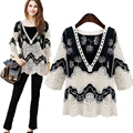 Fashion Breathable Large Size Women's 2017 New Black White Splicing Long-sleeved Lace Shirt Crochet Hollow Loose V-neck Blouse