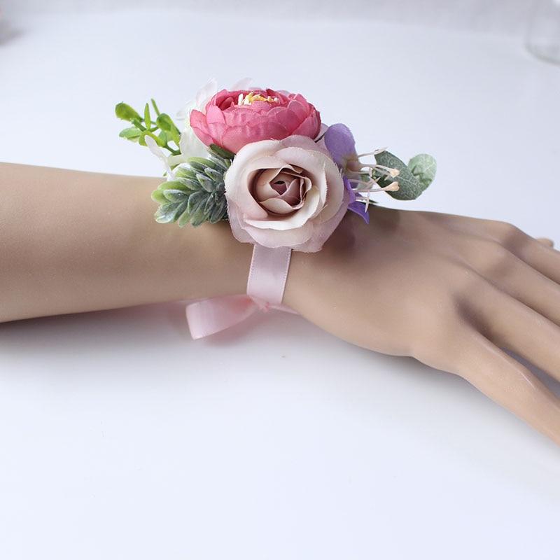 wrist flower bridesmaids Bracelets silk roses pink (39)