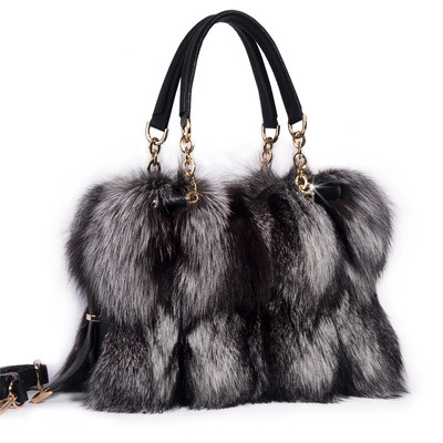Nature fox fur women clutch bags 2017 patchwork blosa party bag chians shoulder bag zipper winter