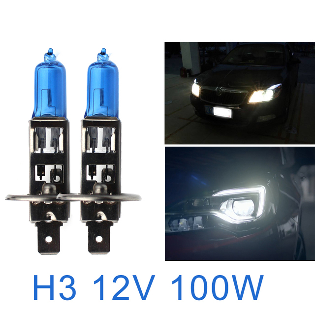 2pcs 12v H3 50w 100w Ultra White Light 6000k Halogen Bulb Car