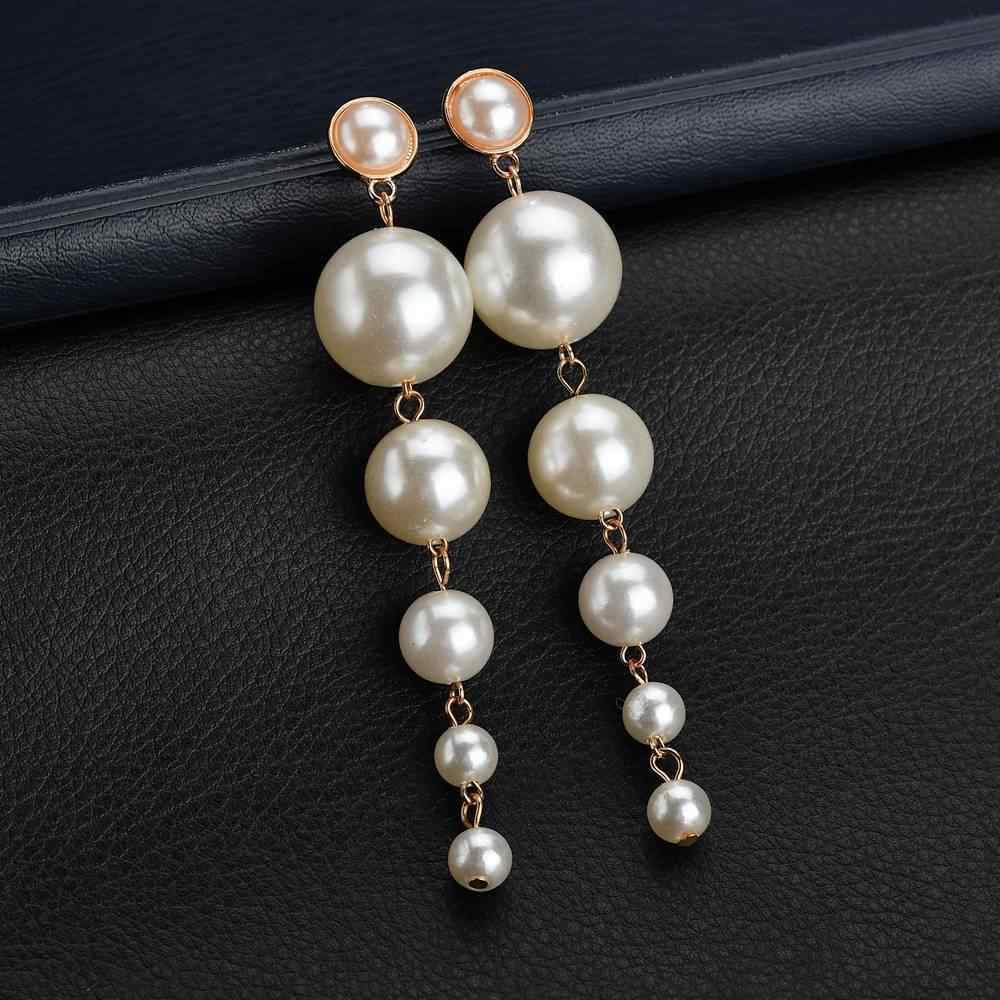 2018 nueva moda pendientes de perlas de imitación de perlas de tamaño simple joker pendientes de perlas pendientes colgantes para joyería de mujer