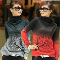 Free Shipping Ladies Cashmere Turtleneck Knitted Sweater With Tree Branch Printing