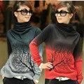 Outono e inverno cashmere gola alta camisola de malha das senhoras com impressão galho de árvore