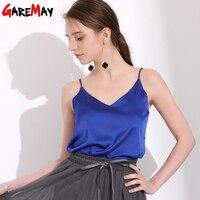 GAREMAY Sexy Silk Tops For Women Slim Sleeveless Shirt Womens Summer Basics Camisole Halter Tank Top
