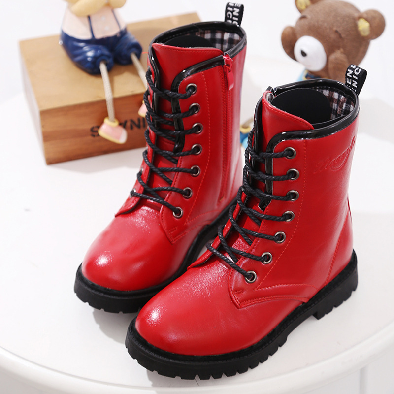Girls PU Leather Ankle Boots New 2017 Autumn Winter Fashion Girls Rubber Boots Solid Cool Children Winter Shoes